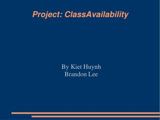 Project: ClassAvailability