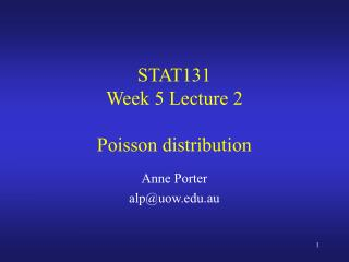 STAT131 Week  5  Lecture  2  Poisson distribution