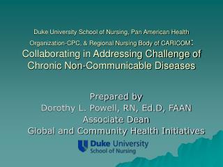 Prepared by Dorothy L. Powell, RN, Ed.D, FAAN Associate Dean