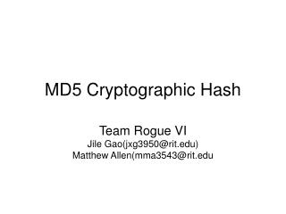 MD5 Cryptographic Hash