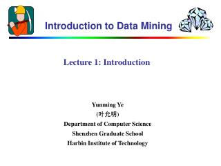 Lecture 1 : Introduction