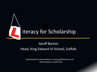 iteracy for Scholarship