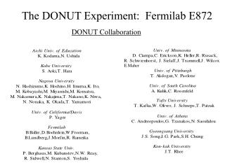 The DONUT Experiment:  Fermilab E872