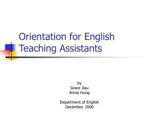 Orientation for English Teaching Assistants