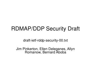 RDMAP/DDP Security Draft