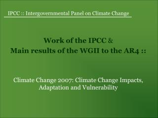 IPCC :: Intergovernmental Panel on Climate Change