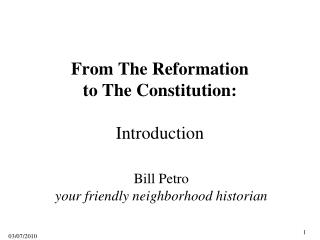 From The Reformation to The Constitution: Introduction