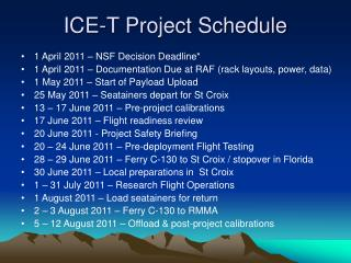 ICE-T Project Schedule