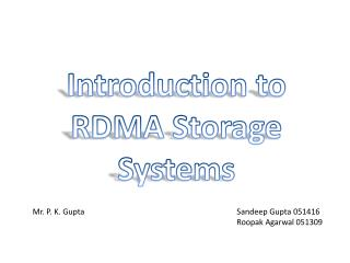 Introduction to RDMA Storage Systems