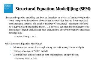 Structural Equation Model[l]ing (SEM)