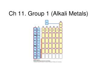 Ch 11. Group 1 (Alkali Metals)