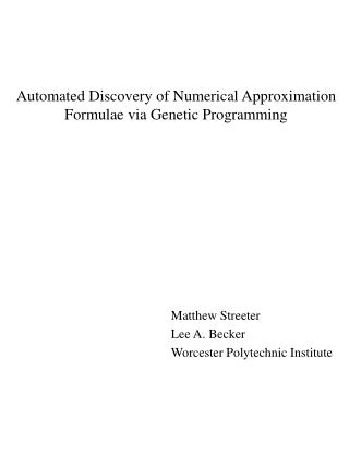 Automated Discovery of Numerical Approximation Formulae via Genetic Programming
