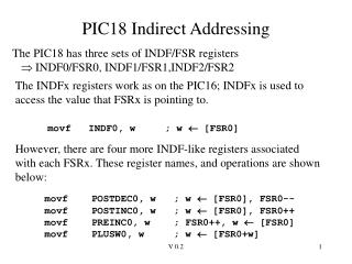 PIC18 Indirect Addressing