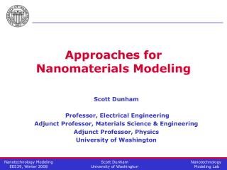 Approaches for Nanomaterials Modeling