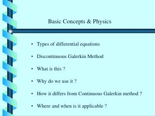 Types of differential equations       Discontinuous Galerkin Method    What is this ?