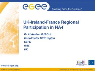 UK-Ireland-France Regional Participation in NA4