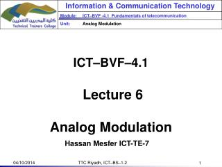 ICT–BVF–4.1   Lecture 6 Analog Modulation