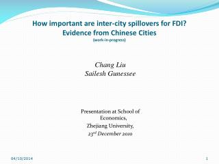 How important are inter-city spillovers for FDI?  Evidence from Chinese Cities (work-in-progress)