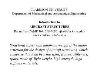 CLARKSON UNIVERSITY Department of Mechanical and Aeronautical Engineering Introduction to