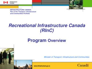 Recreational Infrastructure Canada (RInC) Program  Overview