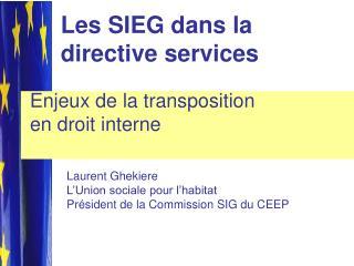 Les SIEG dans la directive services