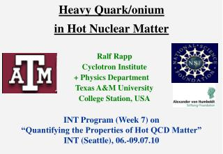 Heavy Quark/onium in Hot Nuclear Matter
