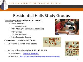 Residential Halls Study Groups