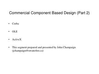Commercial Component Based Design (Part 2)