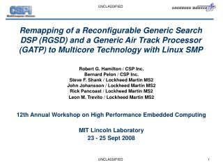 12th Annual Workshop on High Performance Embedded Computing  MIT Lincoln Laboratory