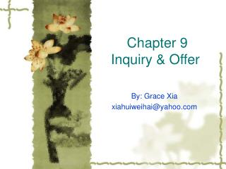 Chapter 9 Inquiry & Offer