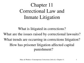 Chapter 11 Correctional Law and  Inmate Litigation