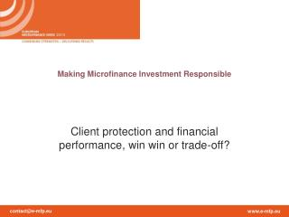 Making Microfinance Investment Responsible