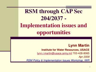 RSM through CAP Sec 204/2037 -  Implementation issues and opportunities