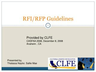 RFI/RFP Guidelines