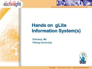 Hands on gLite Information System(s)
