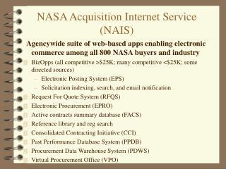 NASA Acquisition Internet Service (NAIS)