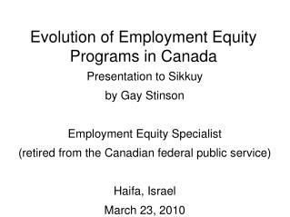 Evolution of Employment Equity Programs in Canada