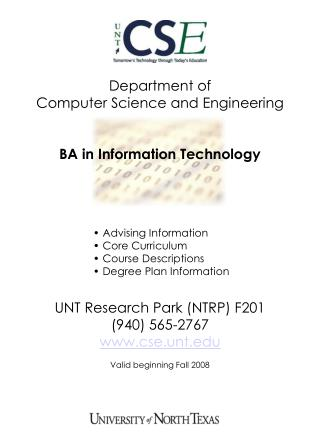 Department of  Computer Science and Engineering BA in Information Technology