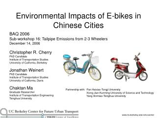 Environmental Impacts of E-bikes in Chinese Cities