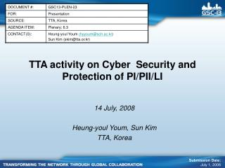 TTA activity on C yber  Security and  Protection of PI/PII/LI