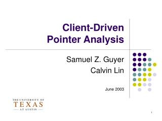 Client-Driven  Pointer Analysis