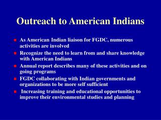 Outreach to American Indians