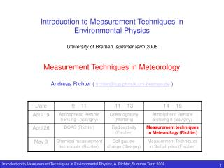 Introduction to Measurement Techniques in  Environmental Physics  University of Bremen, summer term 2006   Measurement T