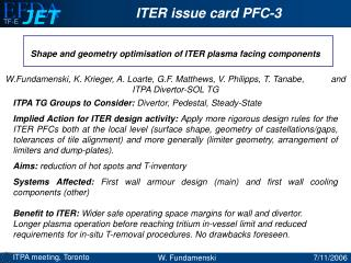 Shape and geometry optimisation of ITER plasma facing components