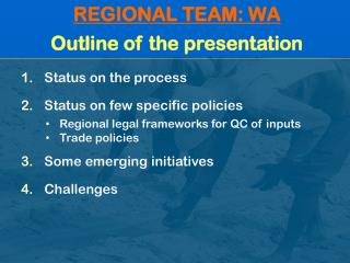 REGIONAL TEAM: WA Outline of the presentation