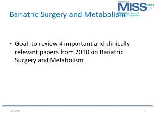 Bariatric Surgery and Metabolism