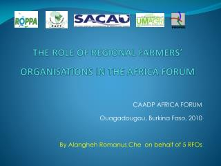 THE ROLE OF REGIONAL FARMERS' ORGANISATIONS IN THE AFRICA FORUM