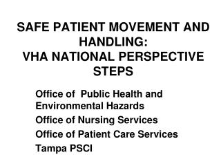 SAFE PATIENT MOVEMENT AND HANDLING: VHA NATIONAL PERSPECTIVE  STEPS