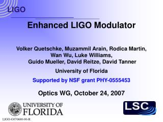 Enhanced LIGO Modulator