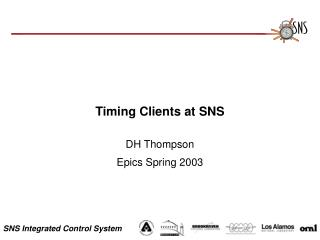 Timing Clients at SNS